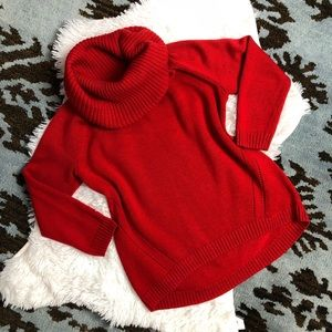 INC Red Chunky Knit Red Cowl Turtleneck Sweater